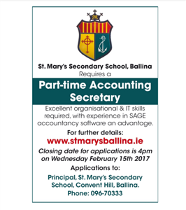 Accounting Secretary Required