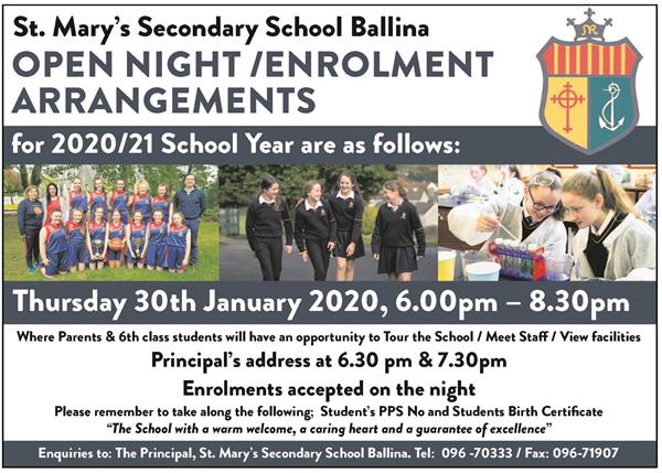 Open / Enrolment Night 2020/21