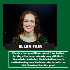 Ellen Fair who selected as a soprano in prestigious NUIMChamber Choir!